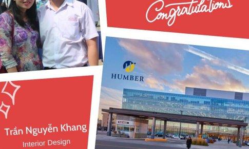 Chúc mừng bạn Trần Nguyễn Khang đã trở thành sinh viên ngành Interior Design của trường Humber – Canada