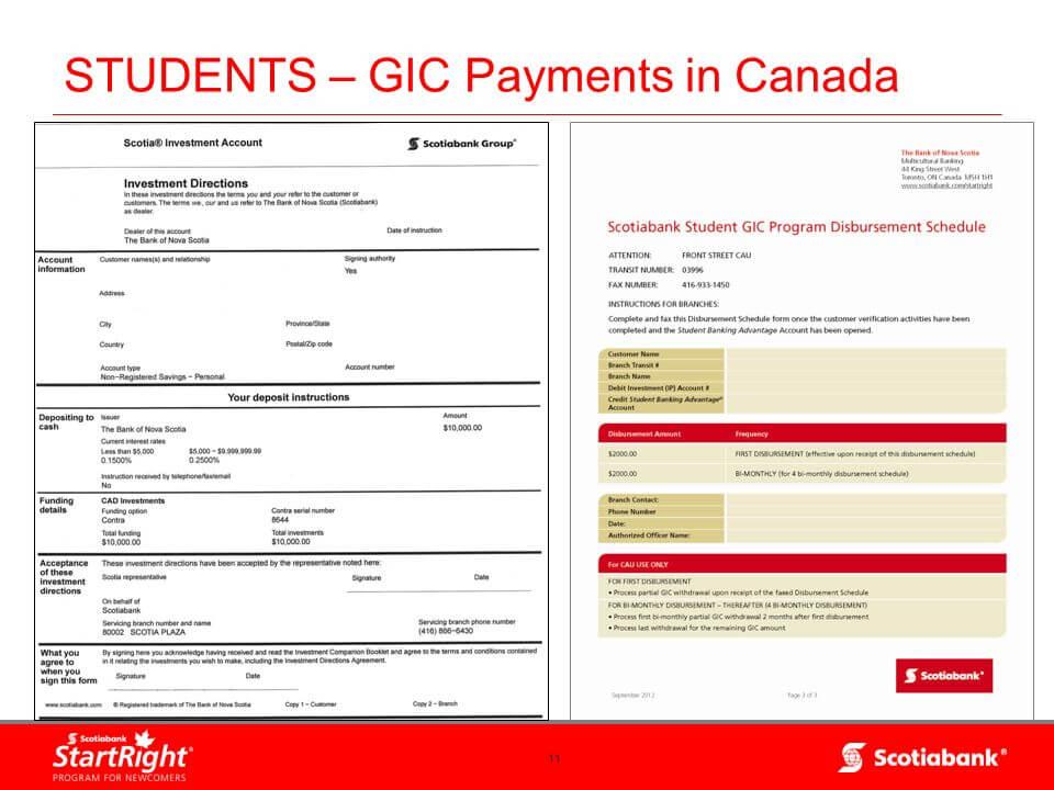 Mẫu GIC cho du học sinh Canada